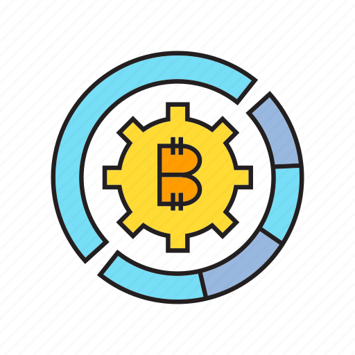 bitcoin, blockchain, cog, coin, cryptocurrency, digital currency, money icon