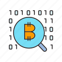 binary, bitcoin, blockchain, cryptocurrency, digital currency, magnifier, scan icon