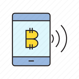bitcoin, cryptocurrency, digital currency, electronic money, smart phone, transaction, wifi icon