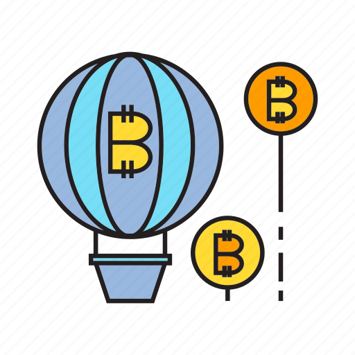 balloon, bitcoin, blockchain, cryptocurrency, digital currency, electronic money, float icon