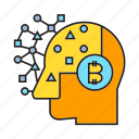 artificial intelligence, bitcoin, brain, head, intelligence, think icon