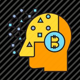 artificial intelligence, bitcoin, brain, head, intelligence, think icon