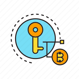 bitcoin, blockchain, cryptocurrency, digital currency, key, money, security icon