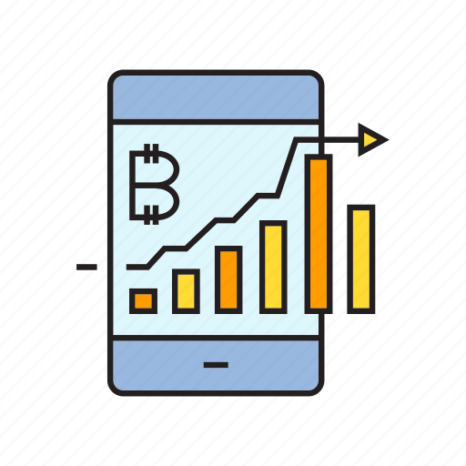 analytics, bitcoin, cryptocurrency, digital currency, graph, mobile phone icon