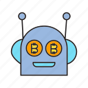 artificial intelligence, bitcoin, bot, cryptocurrency, digital currency, robot, technology icon