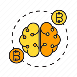 artificial intelligence, bitcoin, blockchain, brain, cryptocurrency, electronic money, smart icon