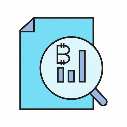analytics, bitcoin, cryptocurrency, document, graph, magnifier, scan icon
