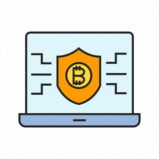 bitcoin, blockchain, computer, cryptocurrency, laptop, security, shield icon
