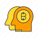 bitcoin, blockchain, cryptocurrency, digital currency, heads, money, think icon