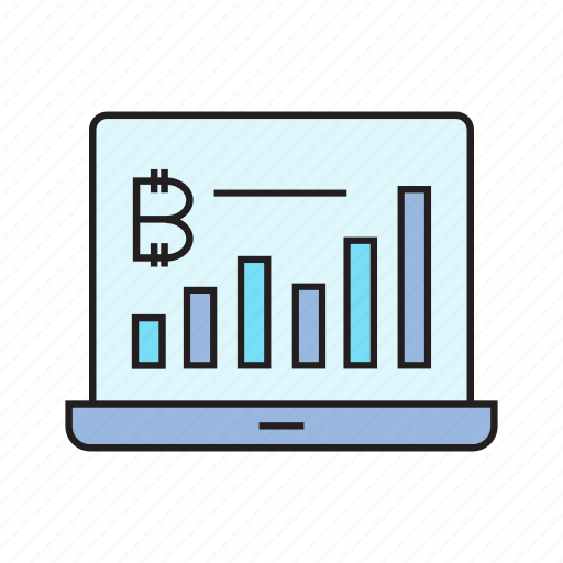 bitcoin, computer, cryptocurrency, digital currency, electronic money, graph, laptop icon