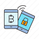 bitcoin, cryptocurrency, digital currency, lock, mobile payment, security, smart phone icon