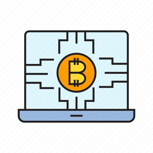 bitcoin, blockchain, compute, cryptocurrency, digital currency, laptop, processor icon