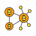 bitcoin, blockchain, connection, cryptocurrency, decentralize, digital currency, network icon