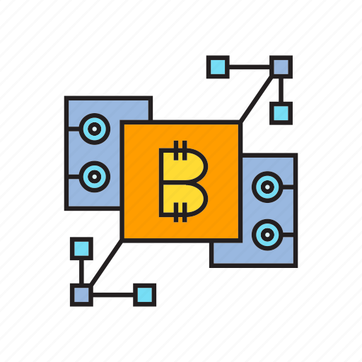 bitcoin, blockchain, cryptocurrency, digital currency, microchip, technology, transaction icon