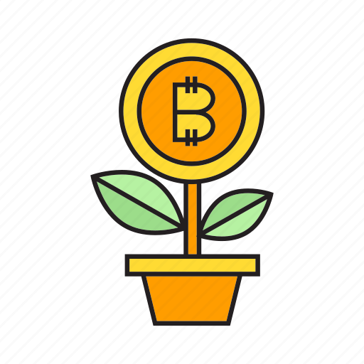 bitcoin, cryptocurrency, growth, invest, money, plant, seed icon