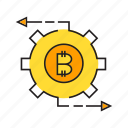 bitcoin, cog, cryptocurrency, digital currency, electronic money, gear, money icon