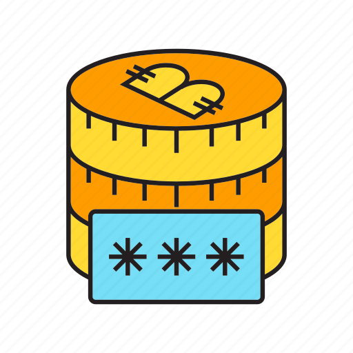 bitcoin, coin, cryptocurrency, digital currency, money, password, security icon
