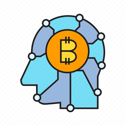 artificial intelligence, bitcoin, blockchain, cryptocurrency, head, money, think icon
