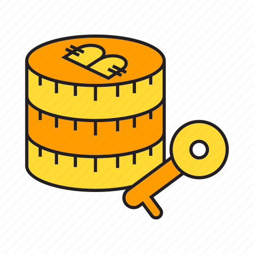 bitcoin, blockchain, coin, cryptocurrency, key, lock, security icon