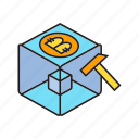axe, bitcoin, bitcoin mining, blockchain, cryptocurrency, cube, digital currency icon