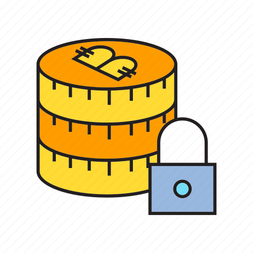 bitcoin, coin, cryptocurrency, digital currency, lock, money, security icon