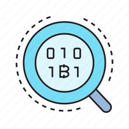 analytics, binary, bitcoin, cryptocurrency, magnifier, scan icon