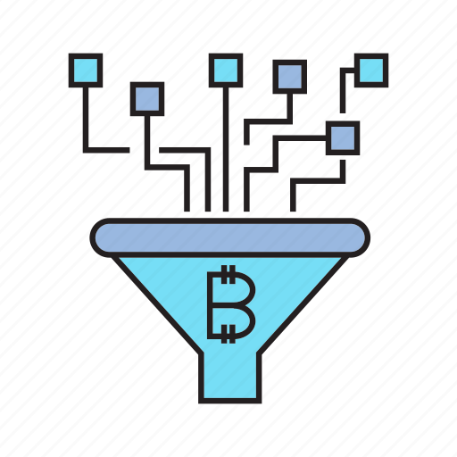 analytics, bitcoin, cryptocurrency, digital currency, filter, flow, funnel icon