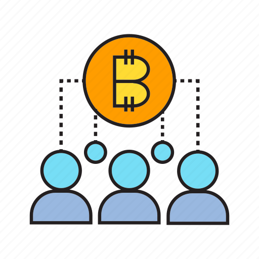 bitcoin, blockchain, coin, crowd, cryptocurrency, decentralize, digital currency icon