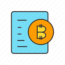 bitcoin, coin, cryptocurrency, digital currency, document, electronic money, transaction icon