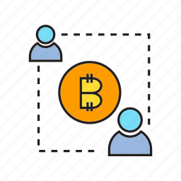 bitcoin, blockchain, connect, cryptocurrency, decentralize, money, people icon