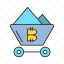 bitcoin, cart, cryptocurrency, digital currency, electronic money, mine, mining icon