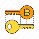 bitcoin, blockchain, cryptocurrency, key, lock, privacy, security icon