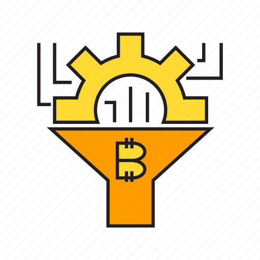 bitcoin, blockchain, cog, cryptocurrency, filter, flow, funnel icon