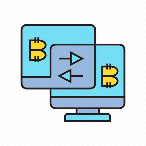 bitcoin, computer, cryptocurrency, currency exchange, digital currency, swap, transaction icon