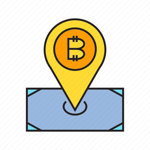 bitcoin, cryptocurrency, digital currency, electronic money, money, pin, pointer icon