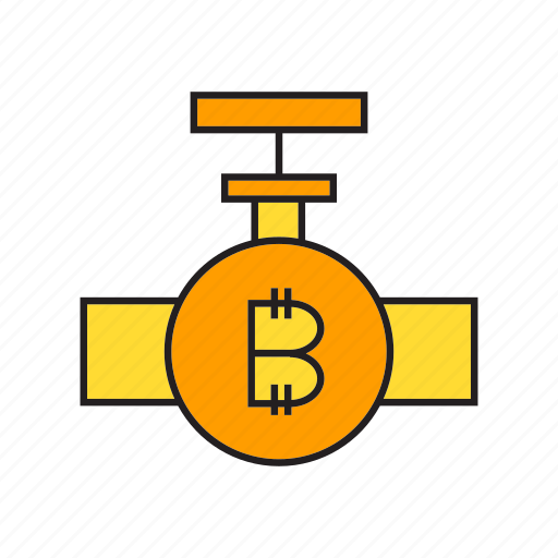 bitcoin, cryptocurrency, digital currency, electronic money, faucet, transaction, valve icon