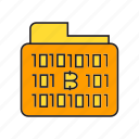 binary, bitcoin, cryptocurrency, data, digital currency, file, folder icon