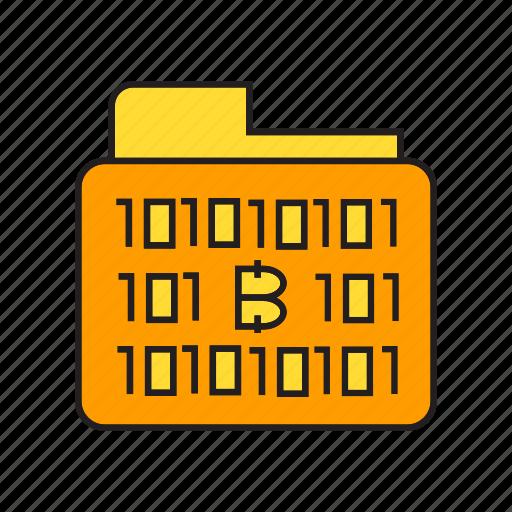 binary, bitcoin, cryptocurrency, data, digital currency, file, folder icon