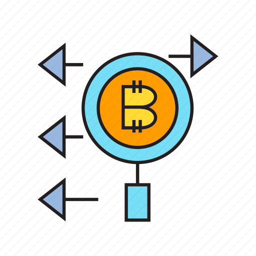 analytics, bitcoin, cryptocurrency, digital currency, electronic money, magnifier, scan icon
