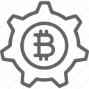 bitcoin, blockchain, cryptocurrency, gear, illustration, line, wheel icon