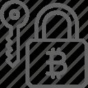 bitcoin, blockchain, cryptocurrency, finance, financial, key, lock icon