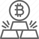 bar, bitcoin, business, cryptocurrency, finance, financial, gold icon