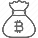 bag, bitcoin, business, cryptocurrency, finance, financial, sign icon