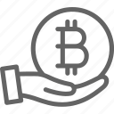 bitcoin, business, coin, cryptocurrency, finance, financial, hand icon
