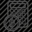 account, bitcoin, bitcoins, calc, price icon
