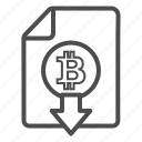 bitcoin, bitcoins, cash, document, down, download, out icon