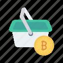 basket, bitcoin, circle, food, trolley icon