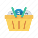 basket, bitcoins, buying, shopping, trolley icon