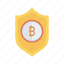 bitcoins, money, protection, secure, shield icon