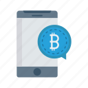 bitcoin, bubble, message, mobile, phone icon